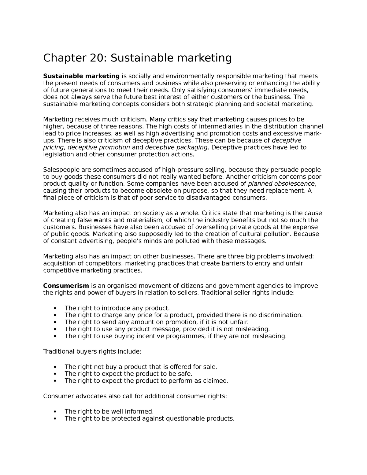 Chapter 20 Sustainable marketing - MKTG2100 - UoN - StuDocu