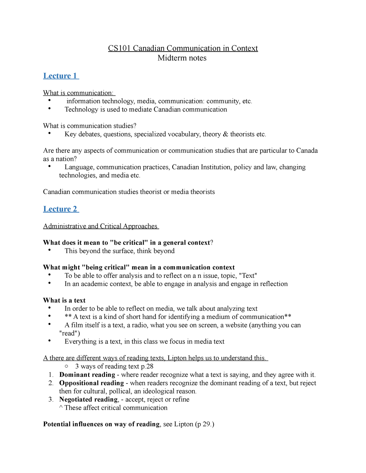 CS101 Midterm notes - Canadian Communication in Context