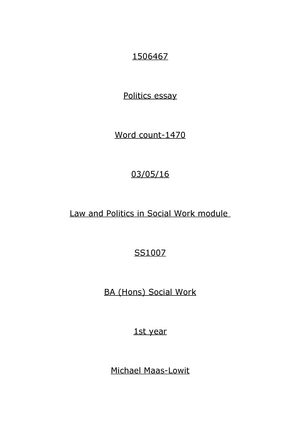 Politics Essay  Grade C  Ss An Introduction To Law And  Politics Essay  Grade C  Ss An Introduction To Law And Politics In  Social Work  Studocu