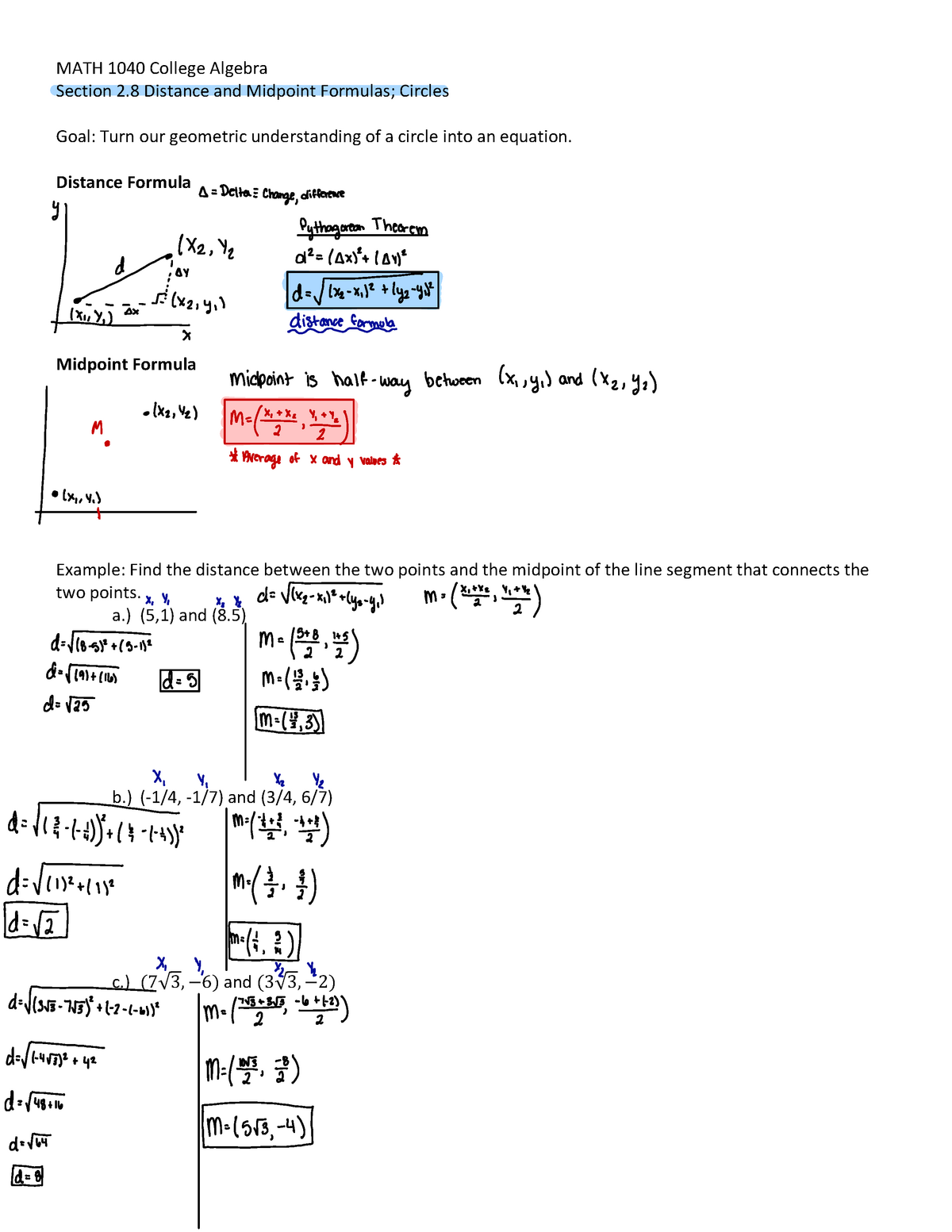 Week 7 - Lecture notes Week 7 - MATH 1040 : College Algebra - StuDocu