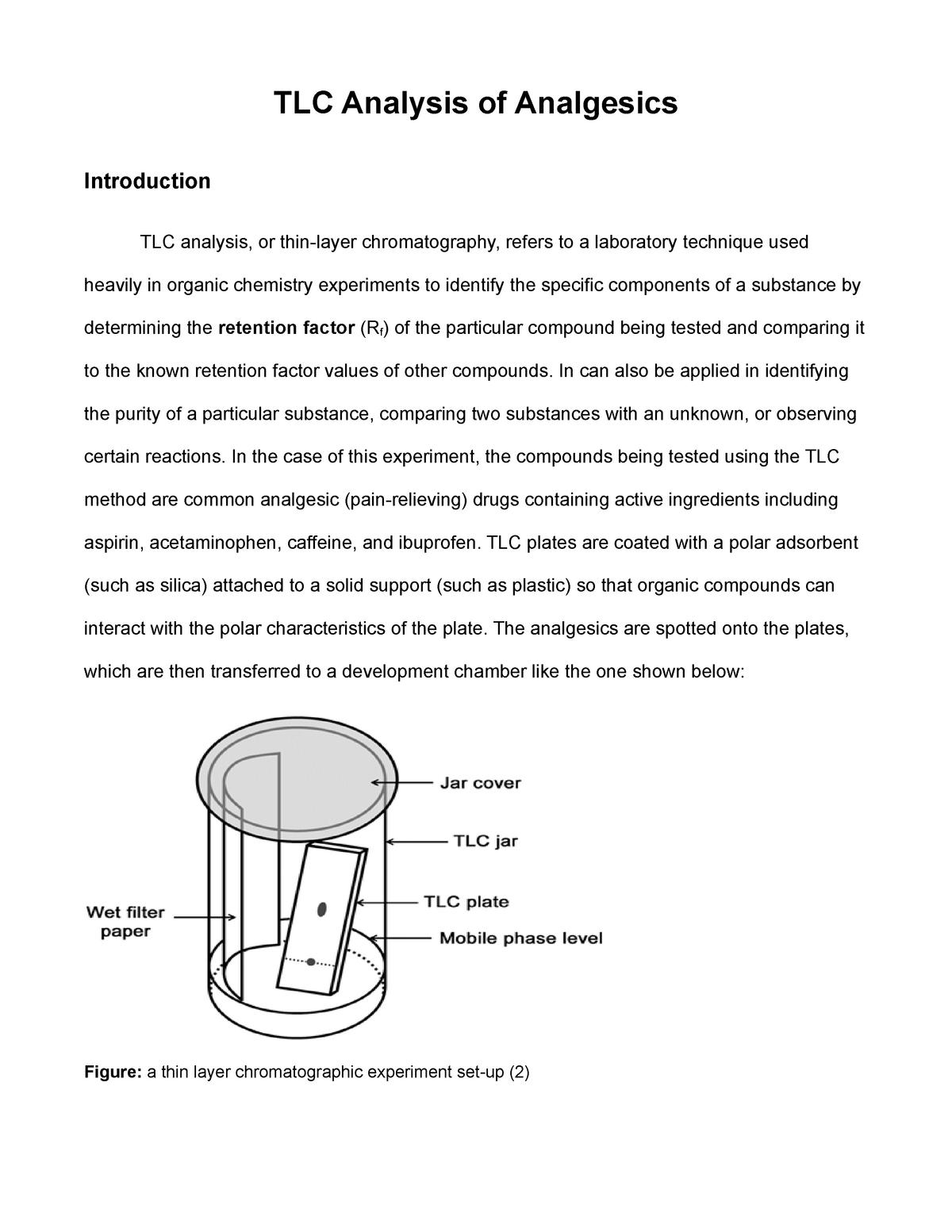 tlc analysis of analgesics - chem 2131l