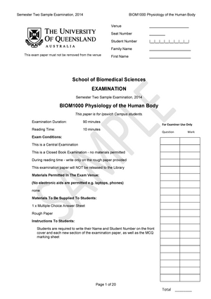 Exam 2014 - BIO1203: Human Anatomy and Physiology - StuDocu