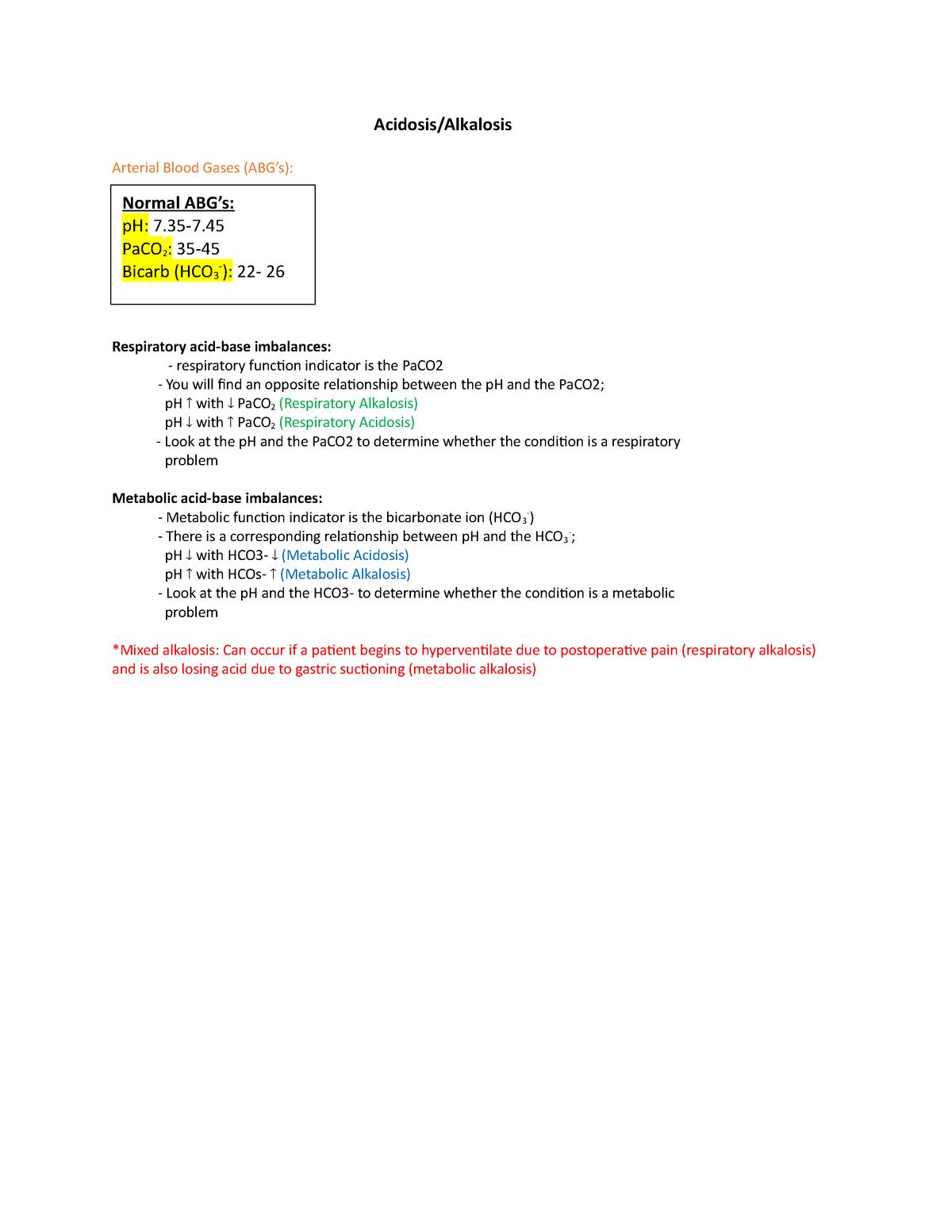 Acidosis Alkalosis Lecture Notes 5 Nurs 4521 Hcc Studocu