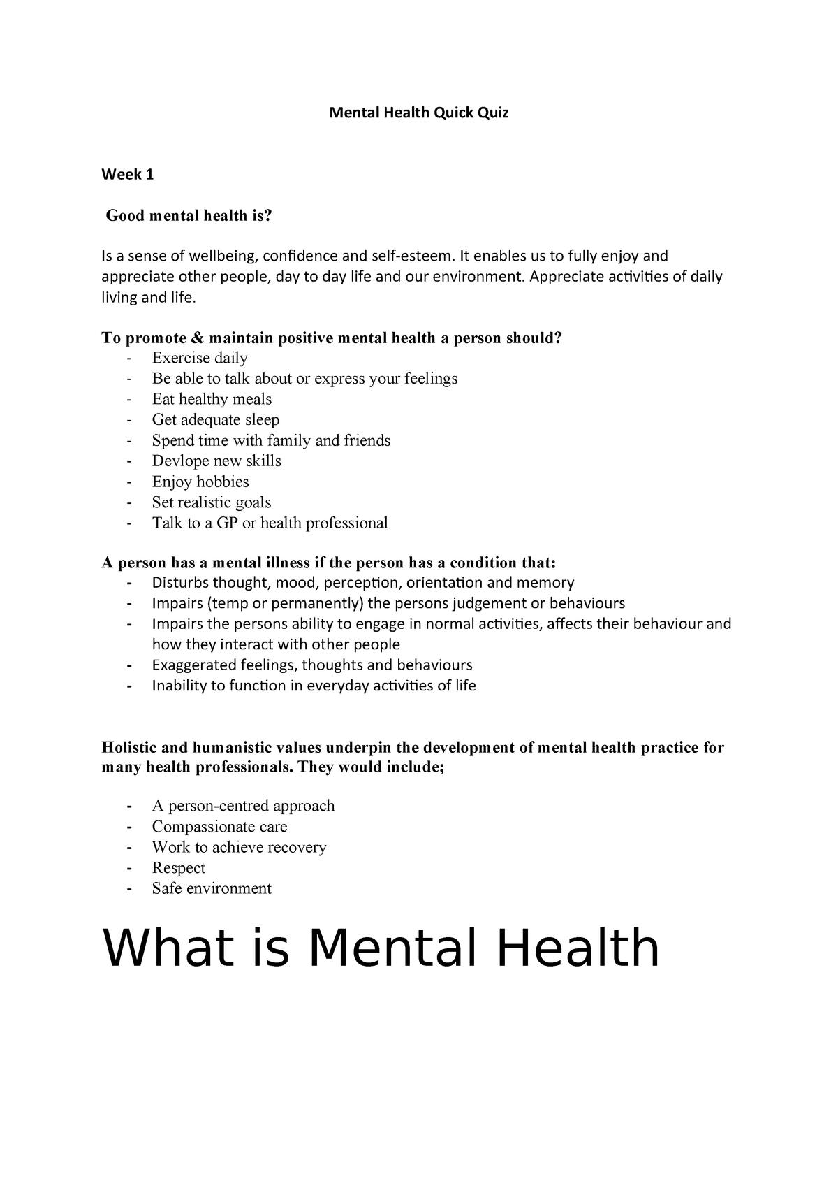 Mental Health Quick Quiz Ncs2102 Ecu Studocu