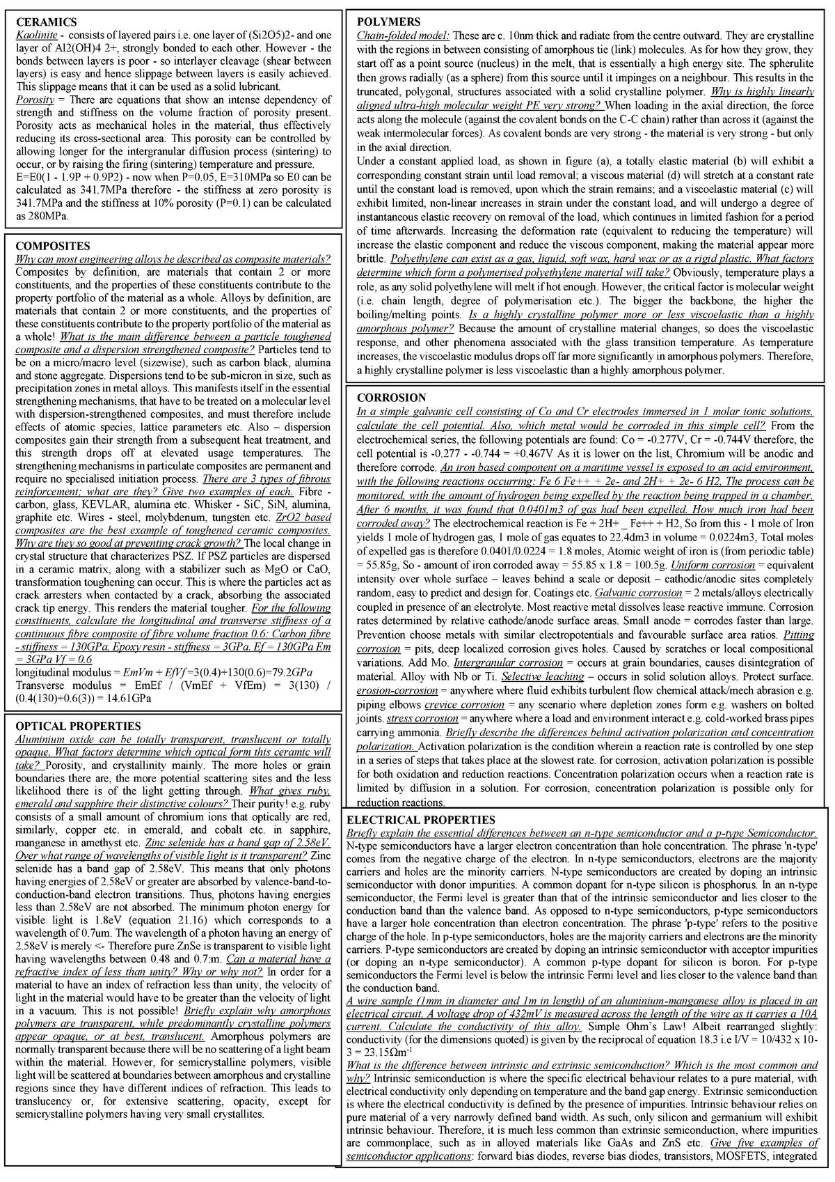 Cheat Sheets - Summary Engineering Sciences - ENGN1215 - StuDocu