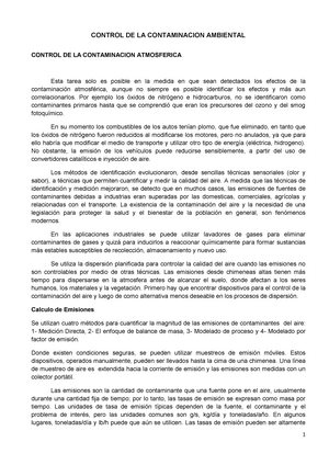 Control DE LA Contaminacion Ambiental - Fundamentos de Ing Ambiental ...