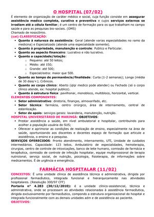 Resumo Hospitalar Introdução 7014 Uem Studocu