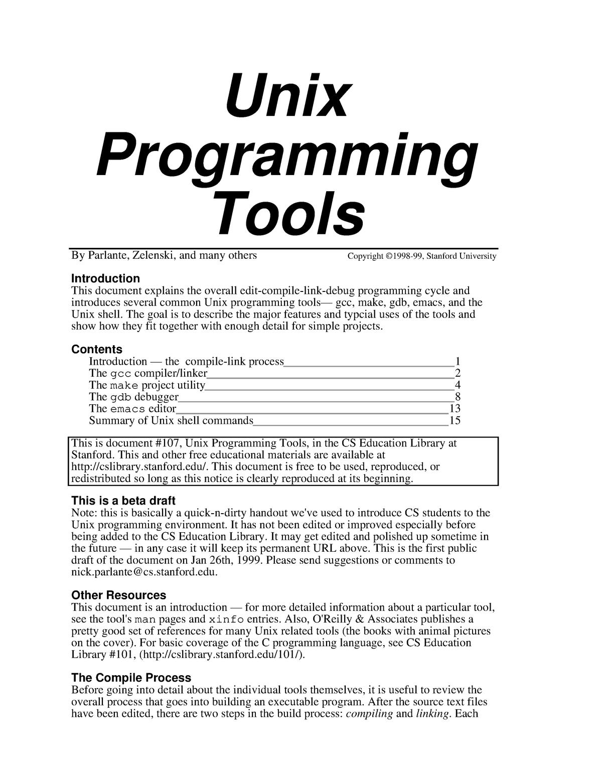 Unix Programming Tools - Sistemas Operativos SO1718