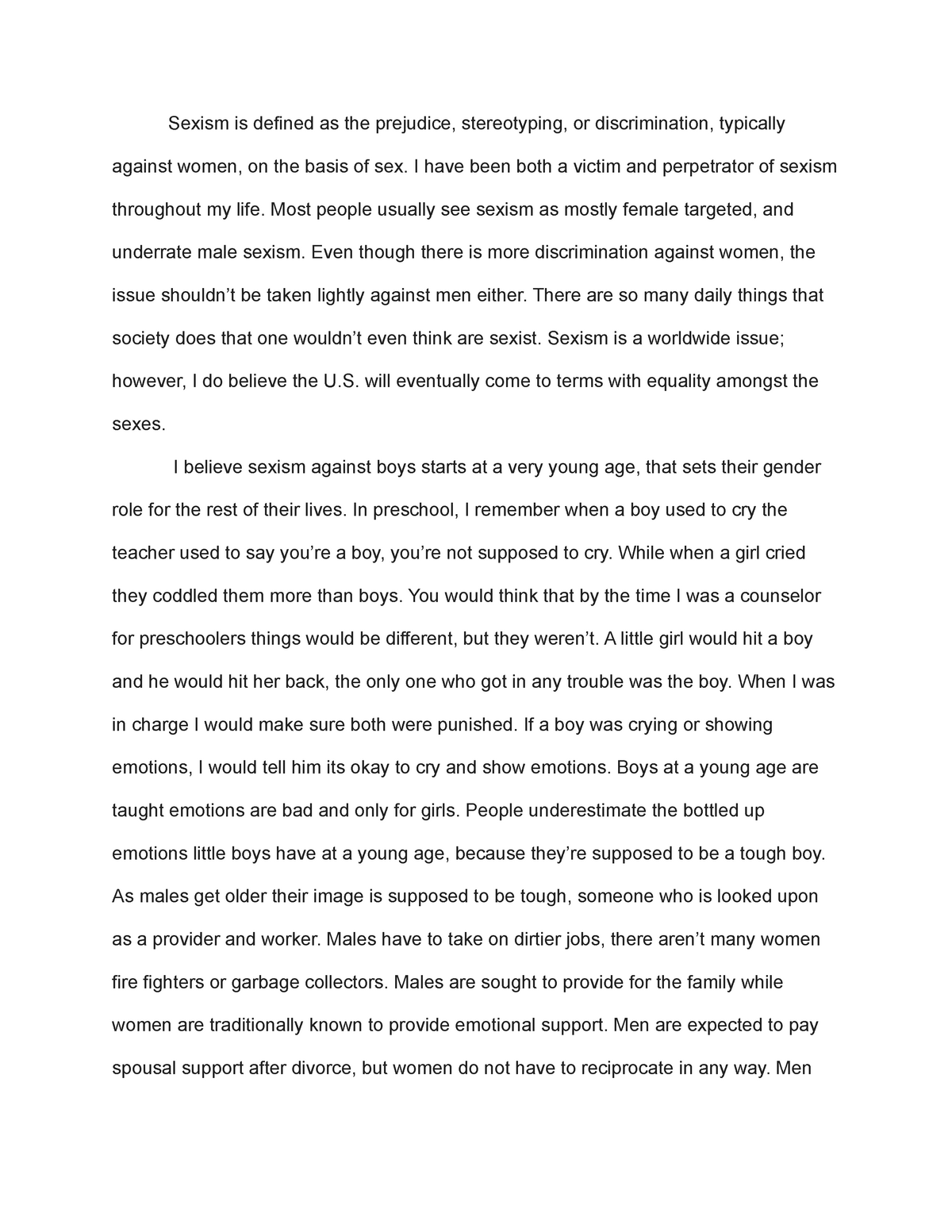 ≡Essays on Sexism. Free Examples of Research Paper Topics, Titles GradesFixer