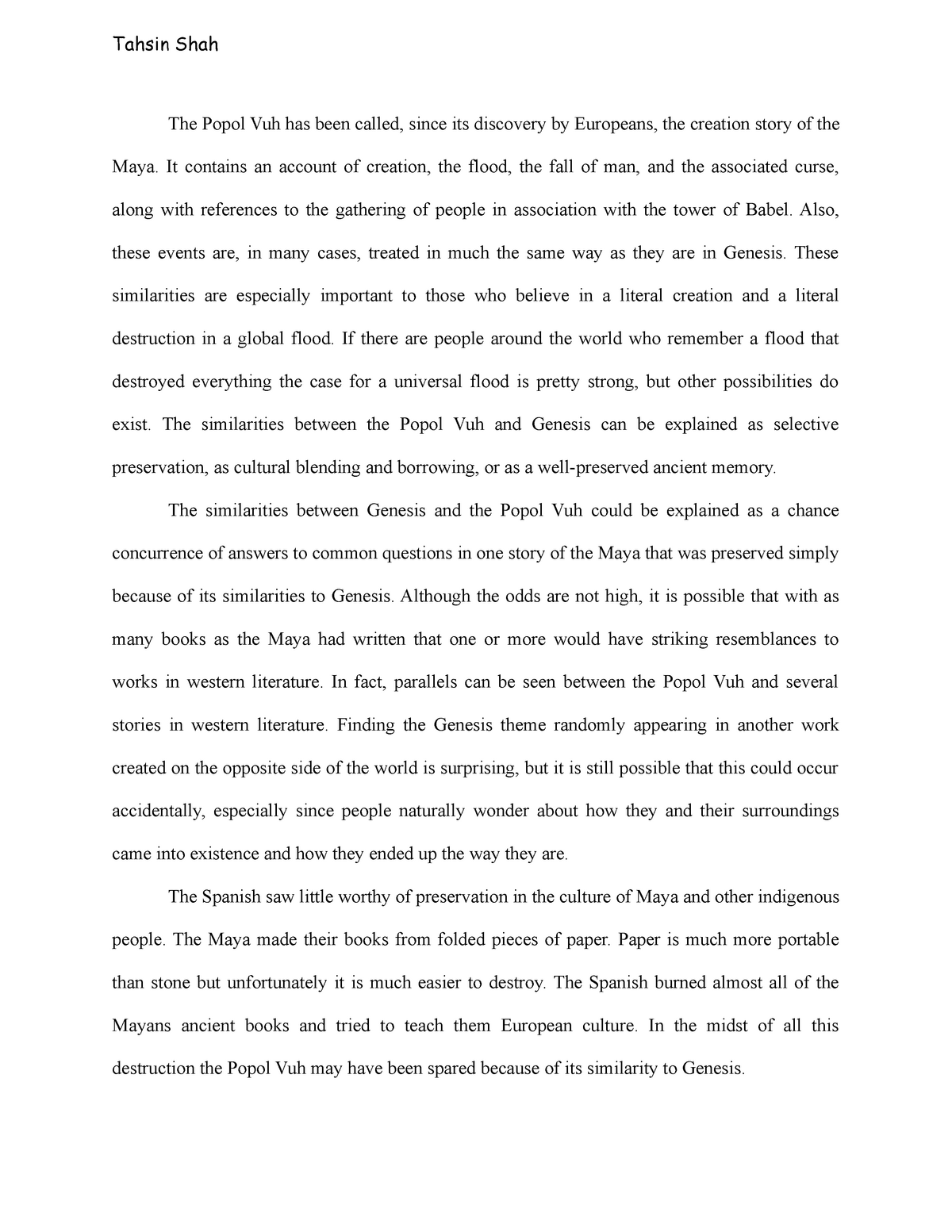 Popol Vuh Essay