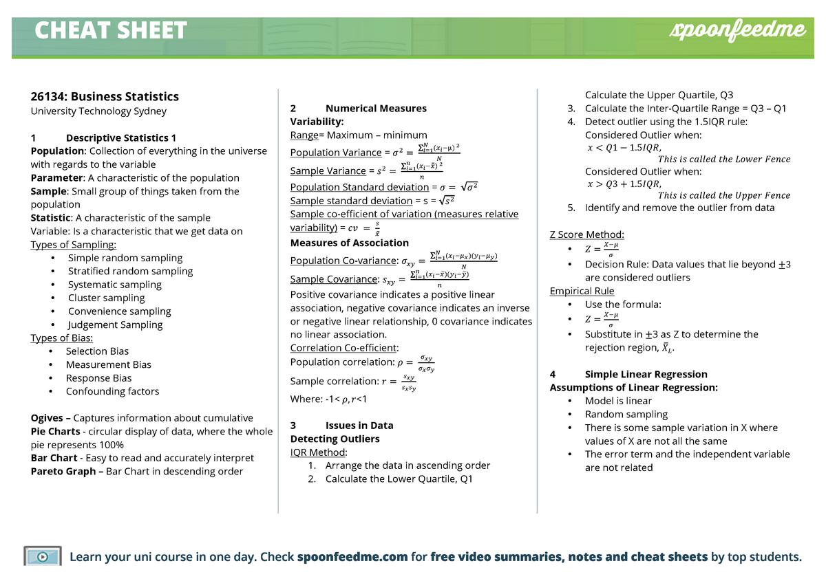 26134-Business-Statistics-Cheatsheet - 026134 - StuDocu