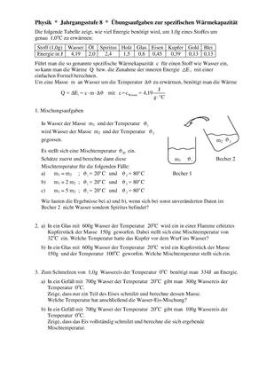 Übungen - Aufgaben zur spezifischen Wärmekapazität mit Lösungen - 01 ...