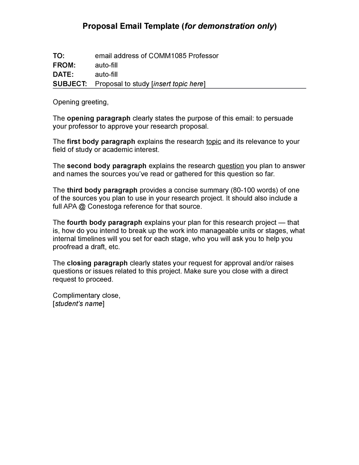 Comm1085 Proposal Email Template Studocu
