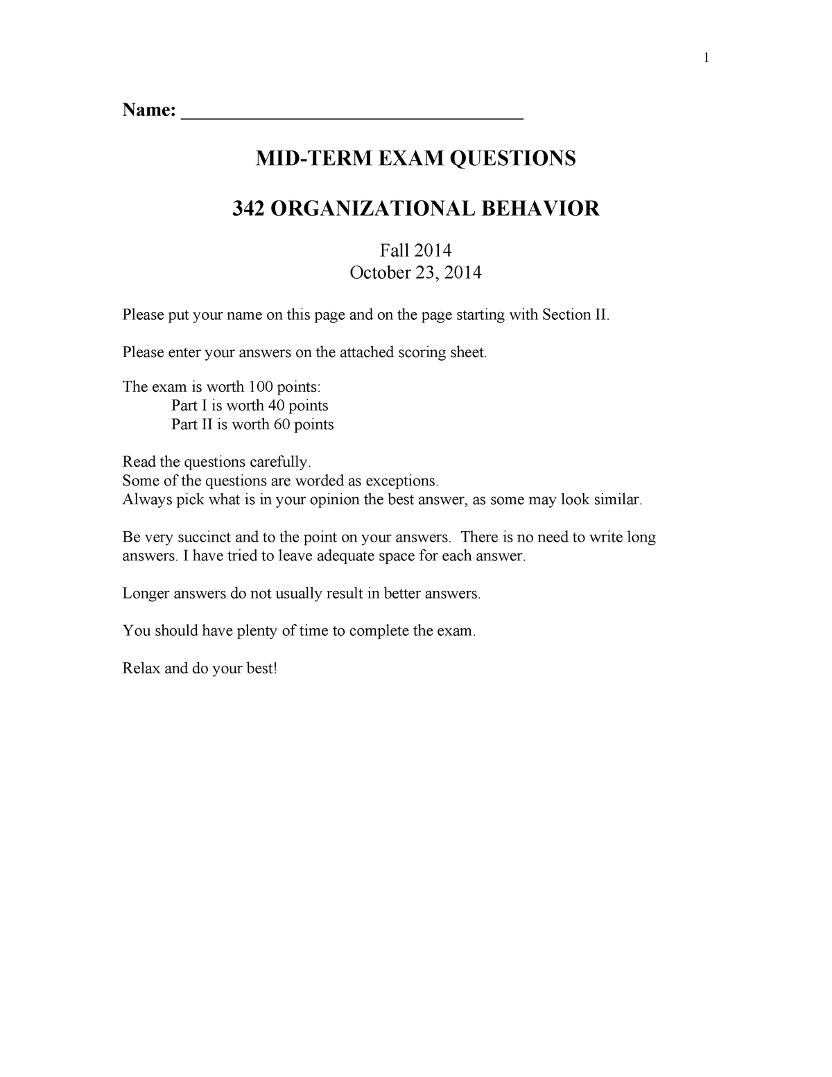 Exam 2014 - IEMS 342: Organizational Behavior - StuDocu