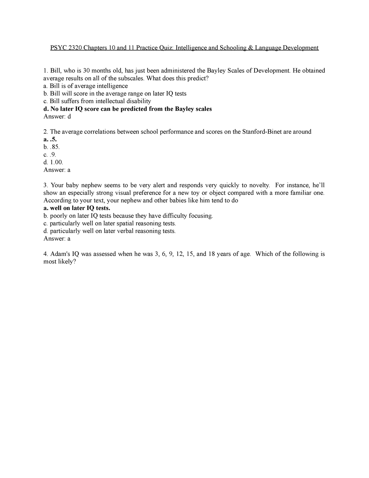 Chapters 10 and 11 quiz answer key - PSYC 2320