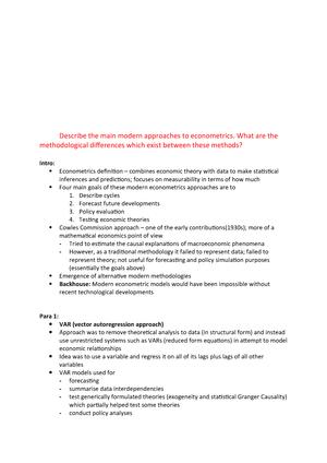 Describe the main modern approaches to econometrics