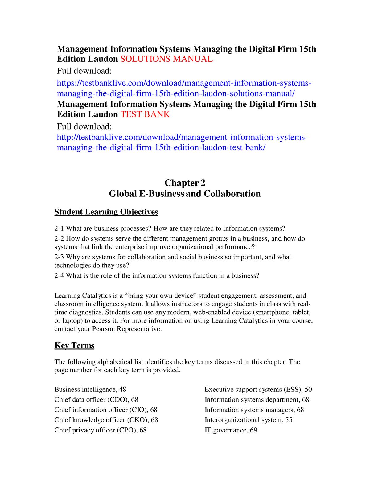 Docit - Solution manual Management Information Systems - StuDocu