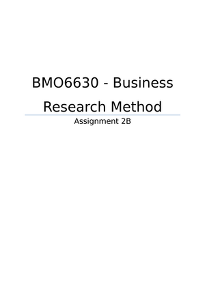 business research methods assignment