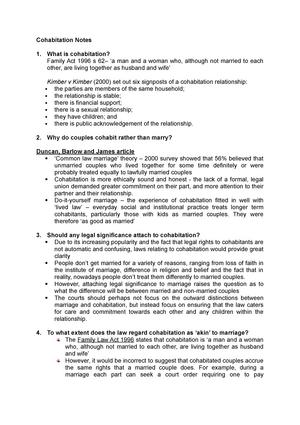 Cohabitation Notes Law240 Family Law Studocu