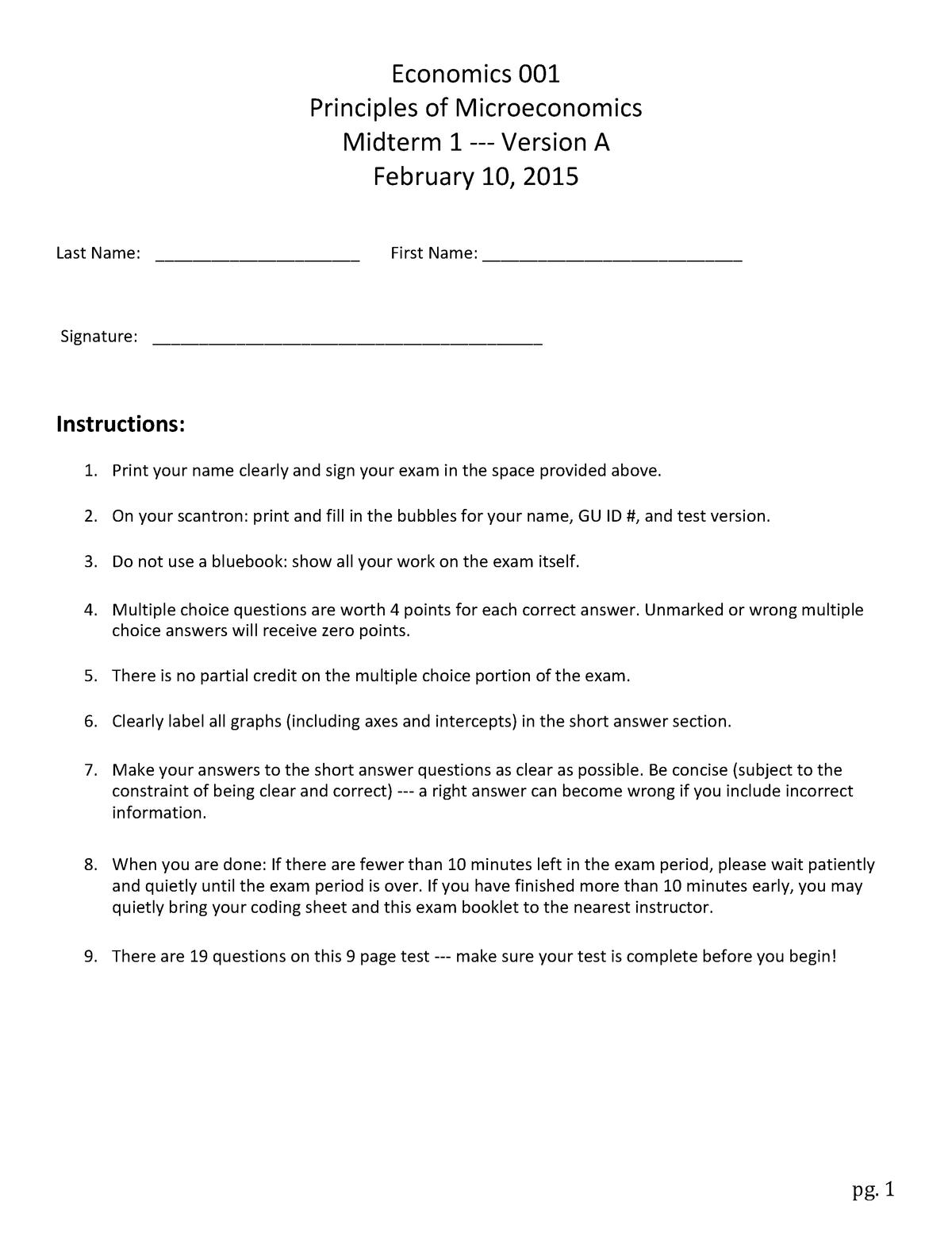 Exam 2015 - ECON 202: (ECON 2302) Principles of Economics - StuDocu
