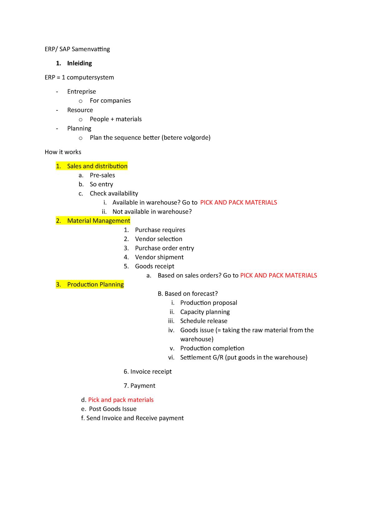 Samenvatting - specifiek - ERP - Arteveldehogeschool - StuDocu
