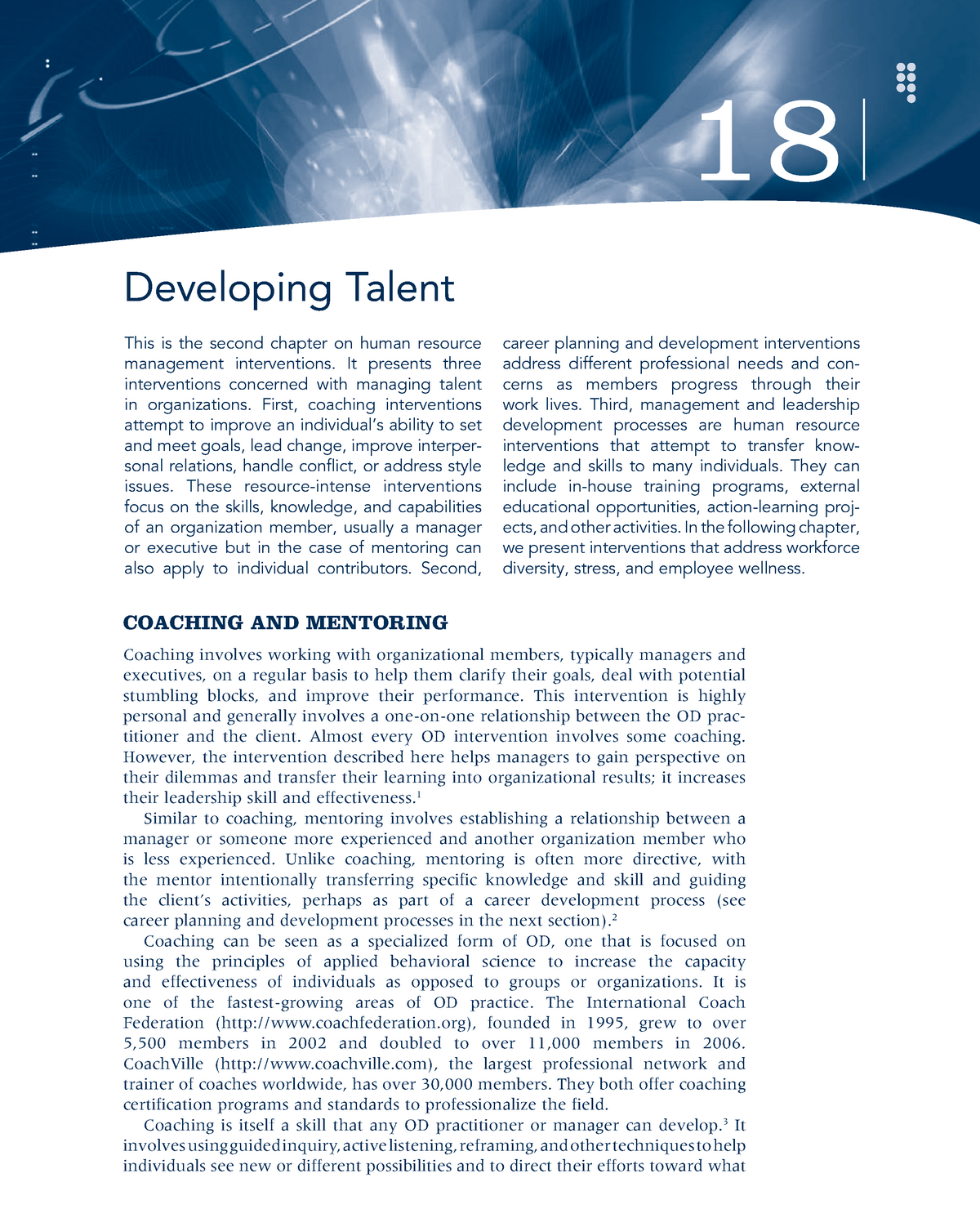 Chapter 18 Developing Talent - MGMT 416: Organizational