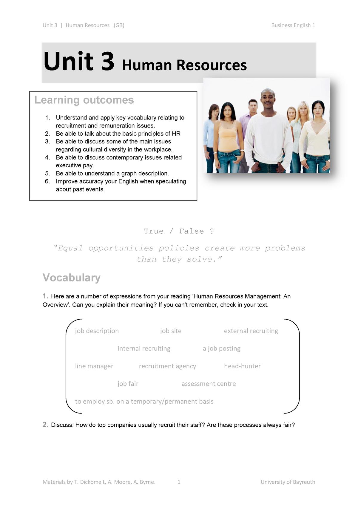 Unit 3 Human Resources V3 - Business English I - StuDocu