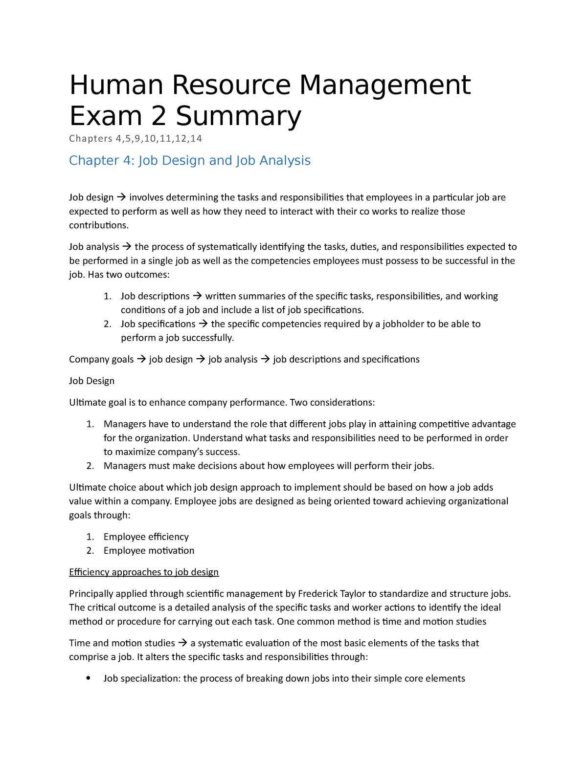 Human Resource Management Exam 2 Summary - 191841580 - StuDocu