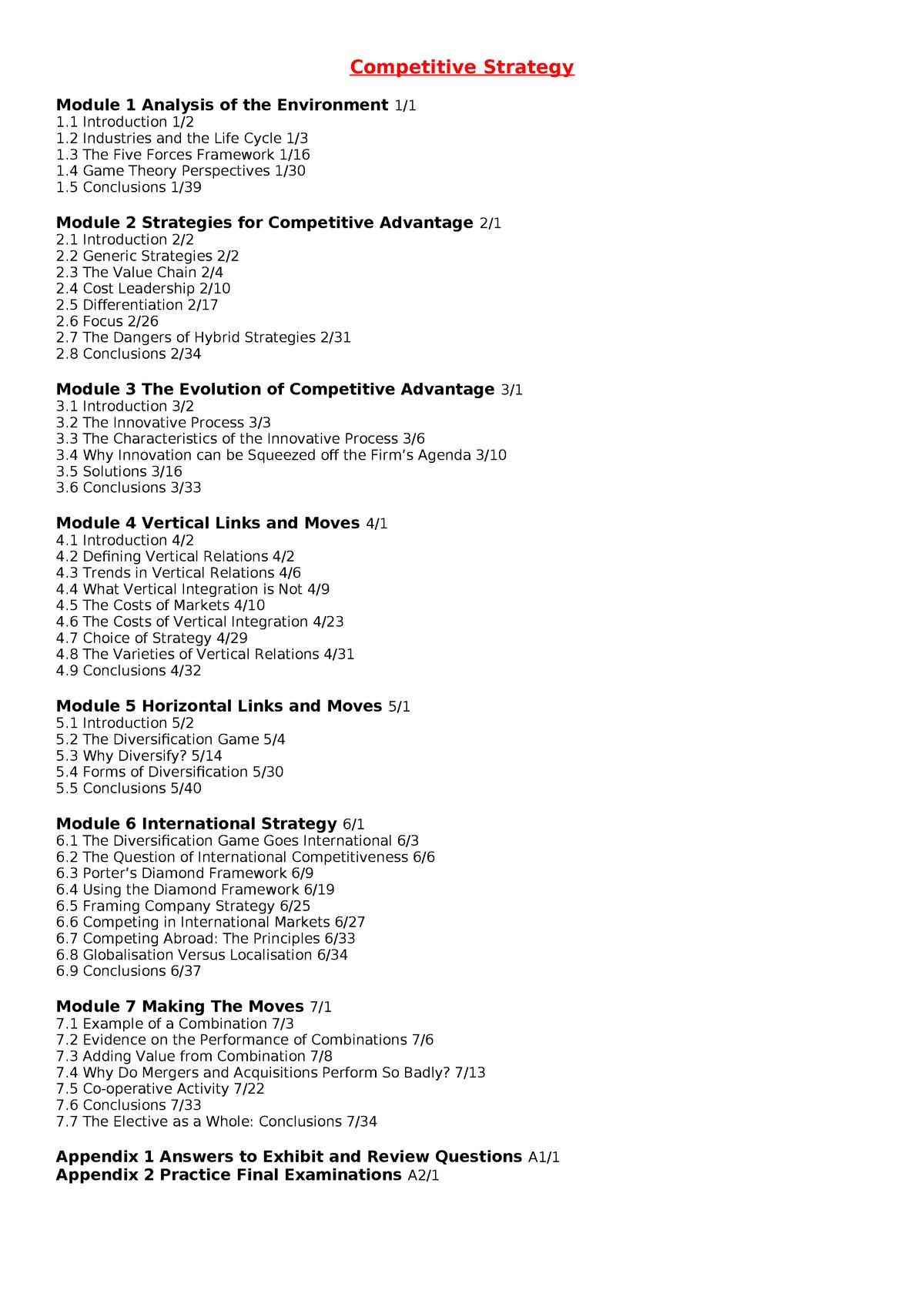 Competitive Strategy Notes - SCM523 - StuDocu