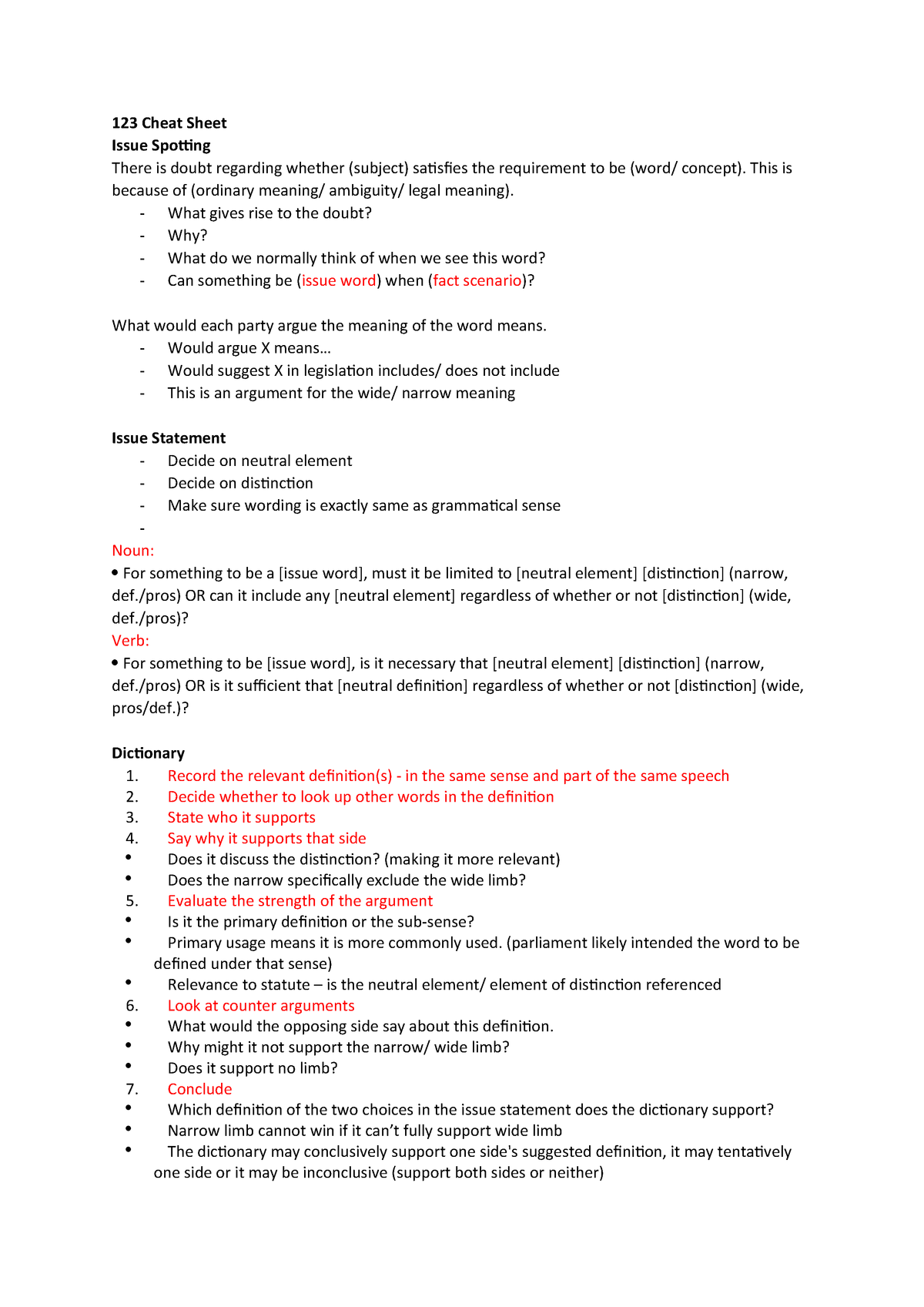 123 Cheat Sheet - Introduction to Statute Law LAWS123 - StuDocu