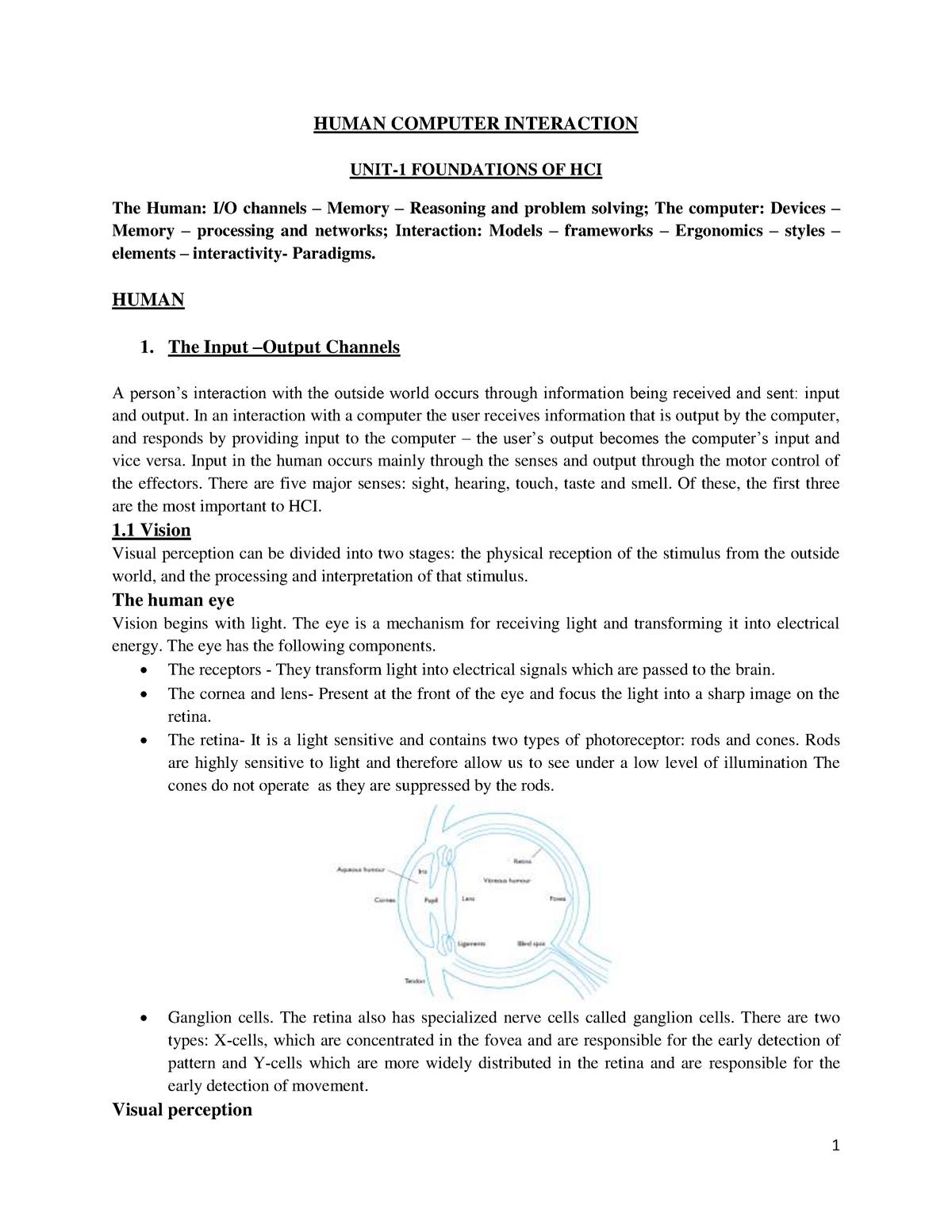 HCI Notes - ALL Units (1) - HUMAN COMPUTER INTERACTION - StuDocu