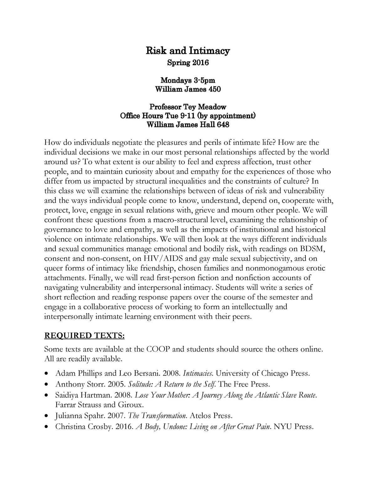 Risk and Intimacy 2016 - Syllabus - WGS 1470: Risk and Intimacy