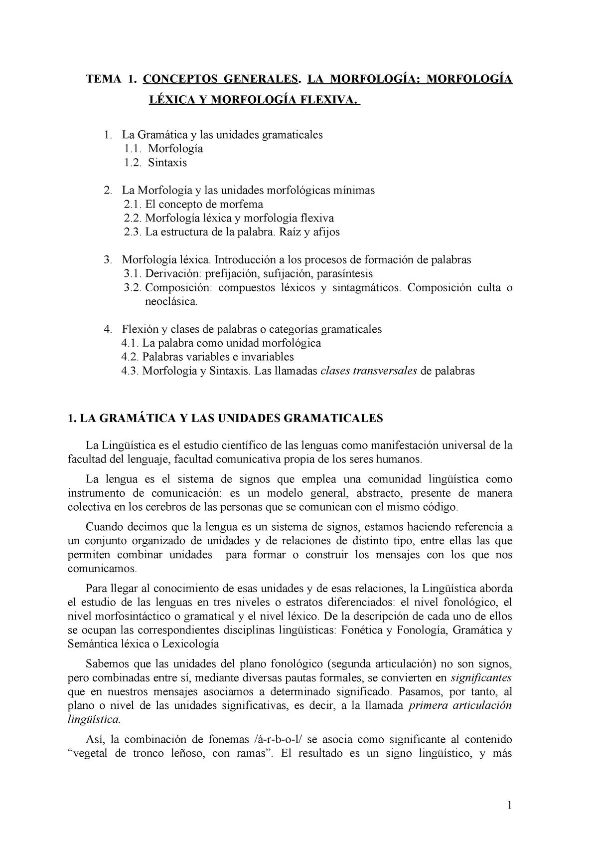 Apuntes Tema 1 Morfología Del Español 0412029 Unileon