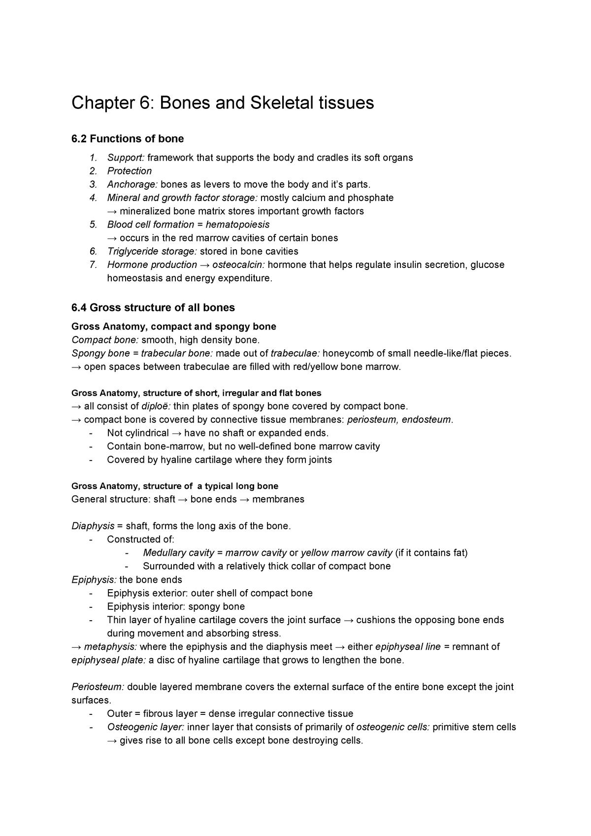 Summary Ch  6 & 8 - Samenvatting Human Anatomy & Physiology