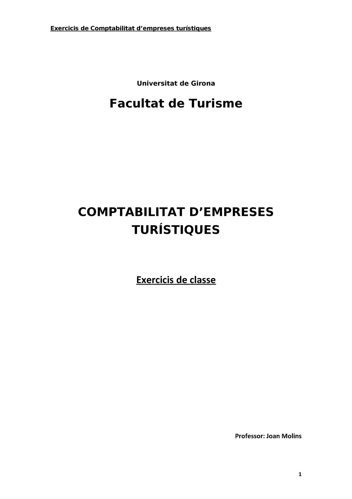Comptabilitat Turisme Solucio Exercicis Practica 1234567