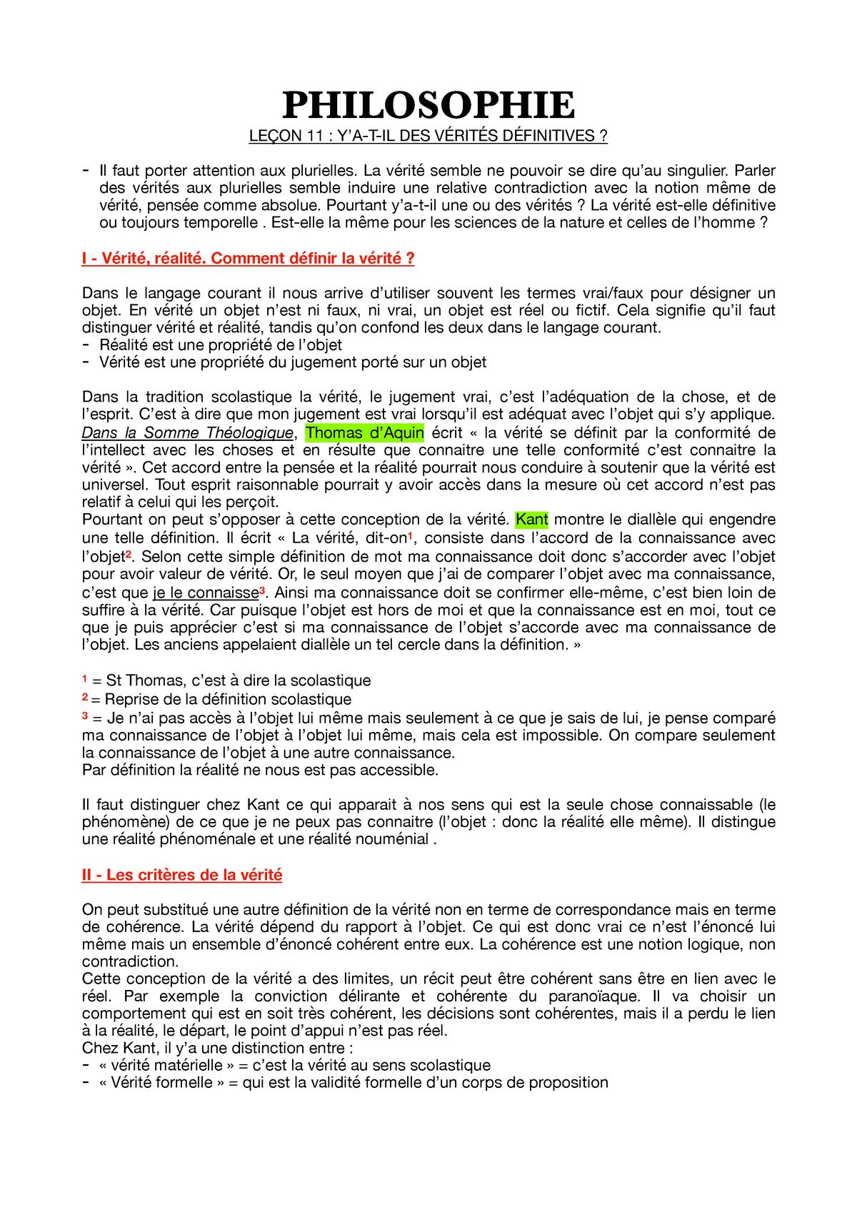 Verite Dissertation Sur La Notion De Studocu Qu Est Ce Que