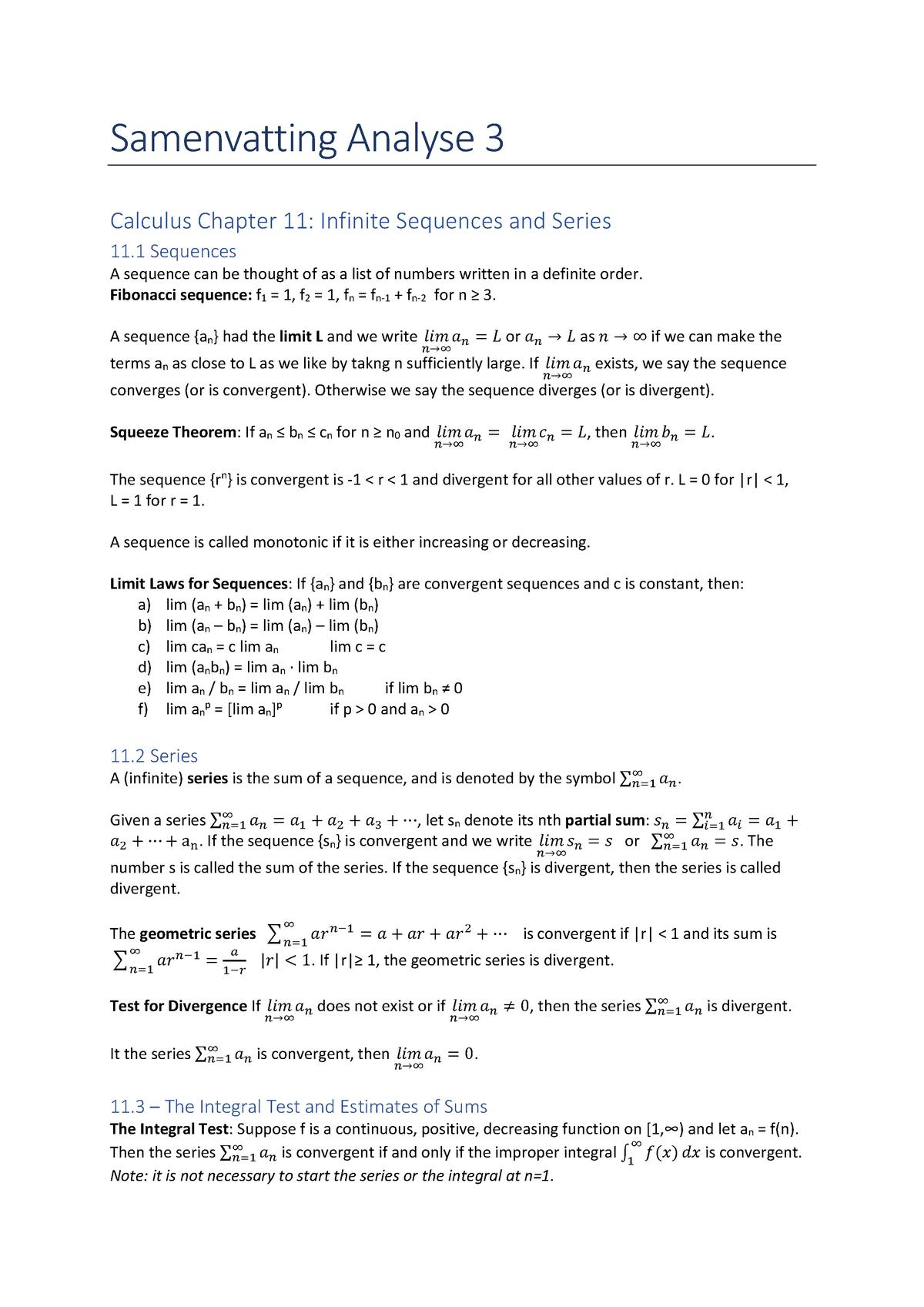 Samenvatting Analyse 3 - WBMT2048WI - StudeerSnel nl