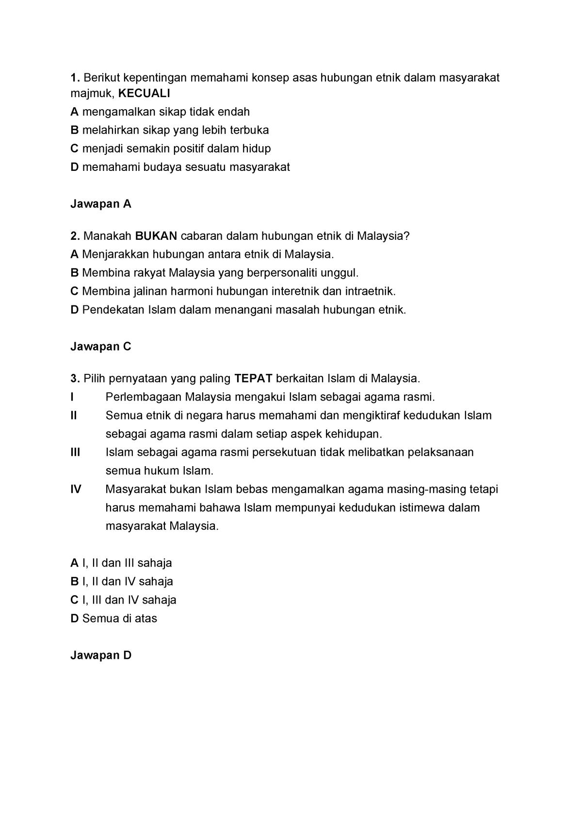 Soalan Hubungan Etnik Agama Di Malaysia Mpu3112 Studocu