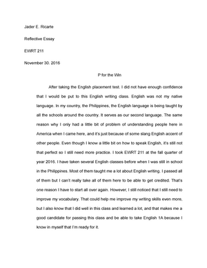 My Hobby Essay In English  Essay For High School Students also Fahrenheit 451 Essay Thesis Ewrt   Reflective   P For The Win   Ewrt    De Anza   Studocu Essay Topics High School