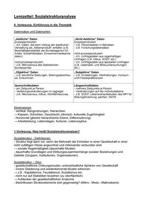 Lernzettel Sozialstrukturanalyse - Sozialstrukturanalyse
