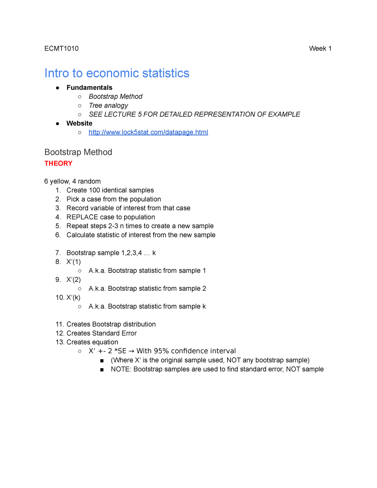 Bootstrap Analysis - Lecture notes Week 1-4 - ECMT1020: Introduction