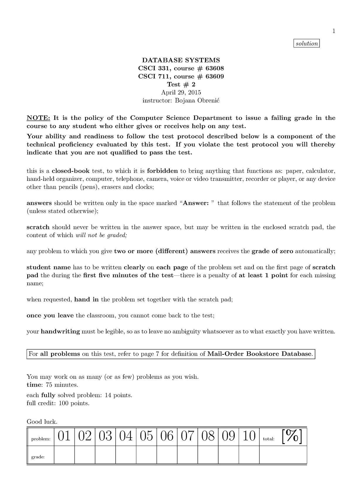 Exam 2017 - CSCI 331: Database Systems - StuDocu