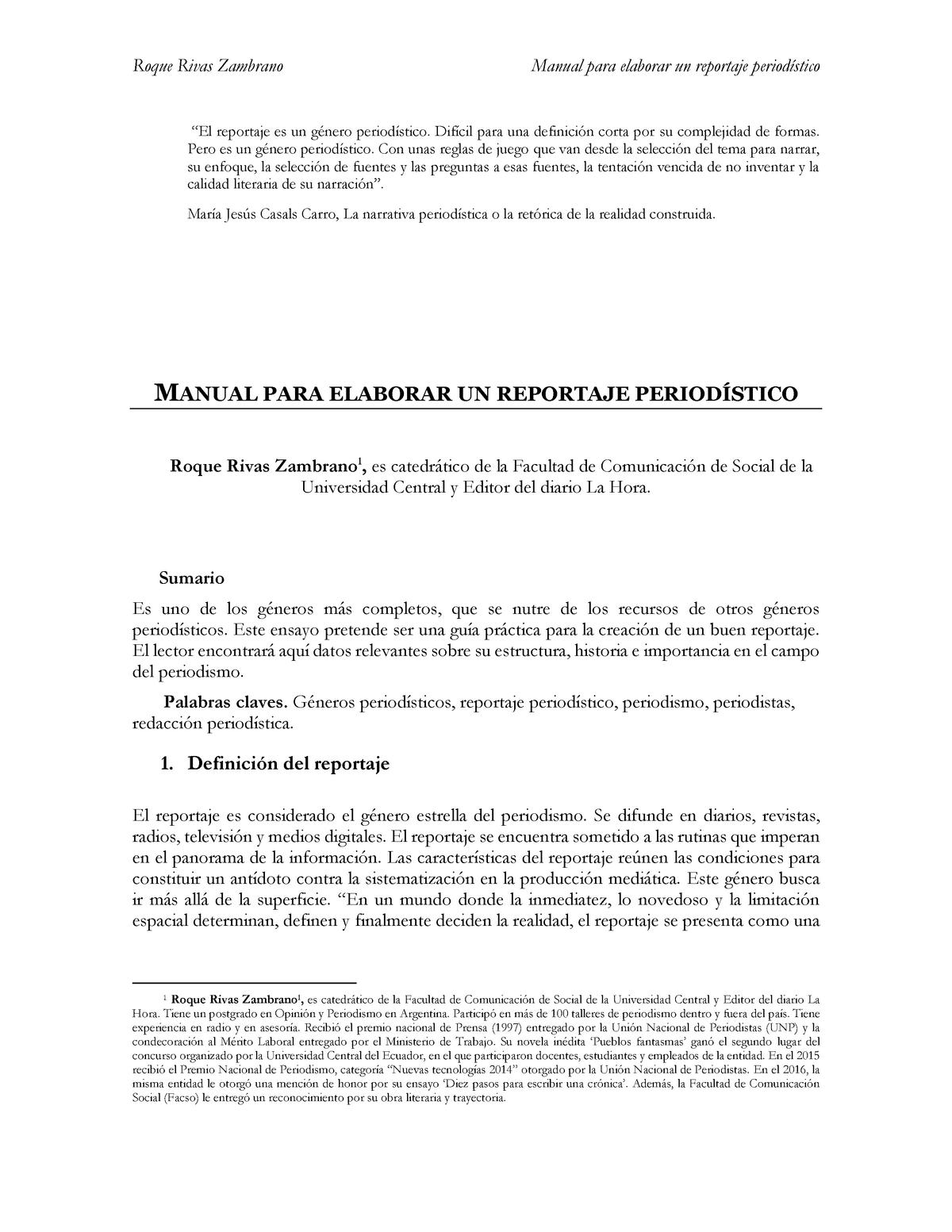 Manual Para Elaborar Un Reportaje Period Informática Studocu