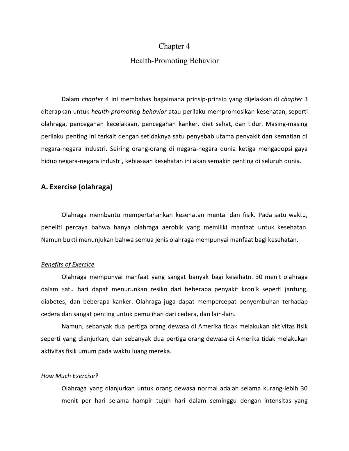 Health Promoting Behavior Unpad Studocu