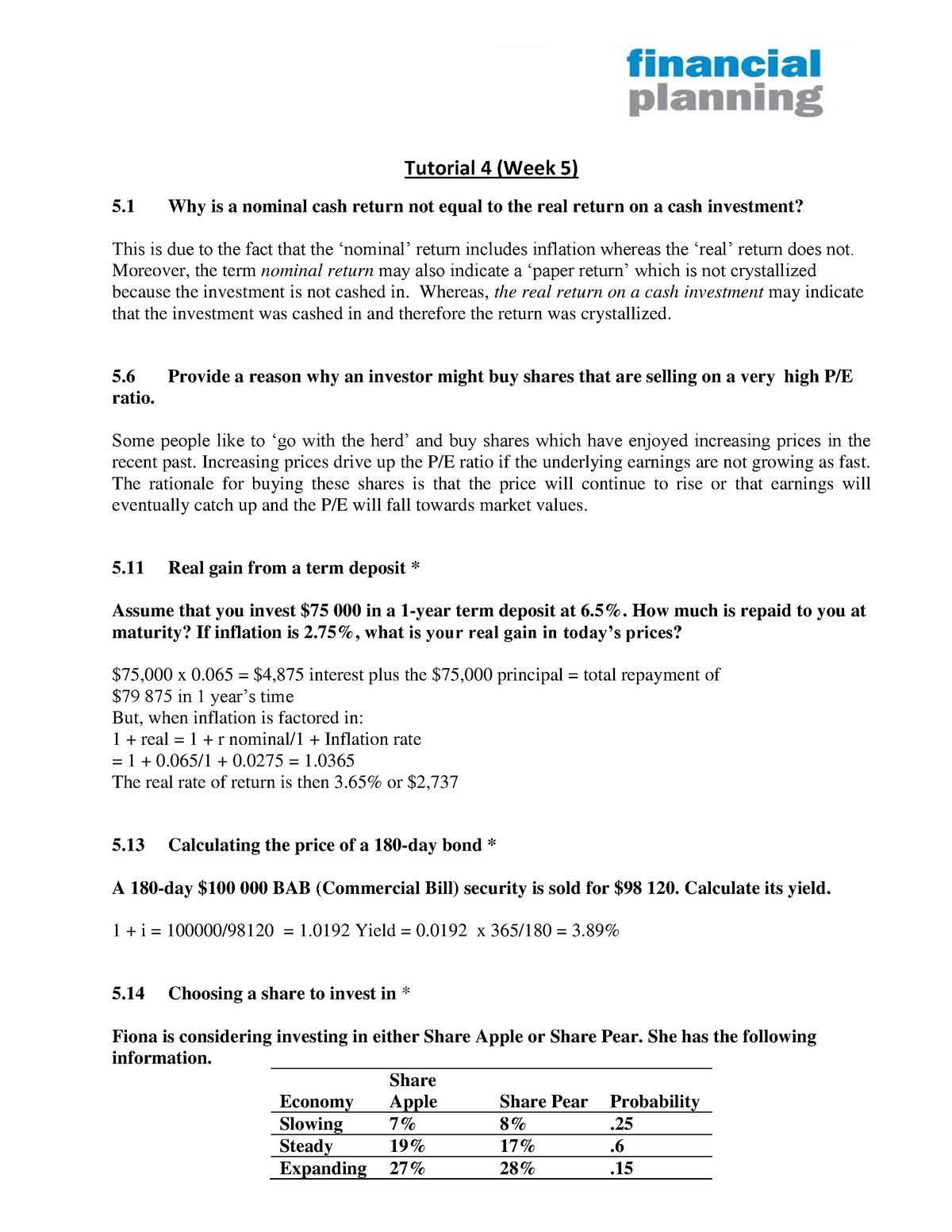 Tutorial 4 Solutions - Personal Finance FM102 - StuDocu