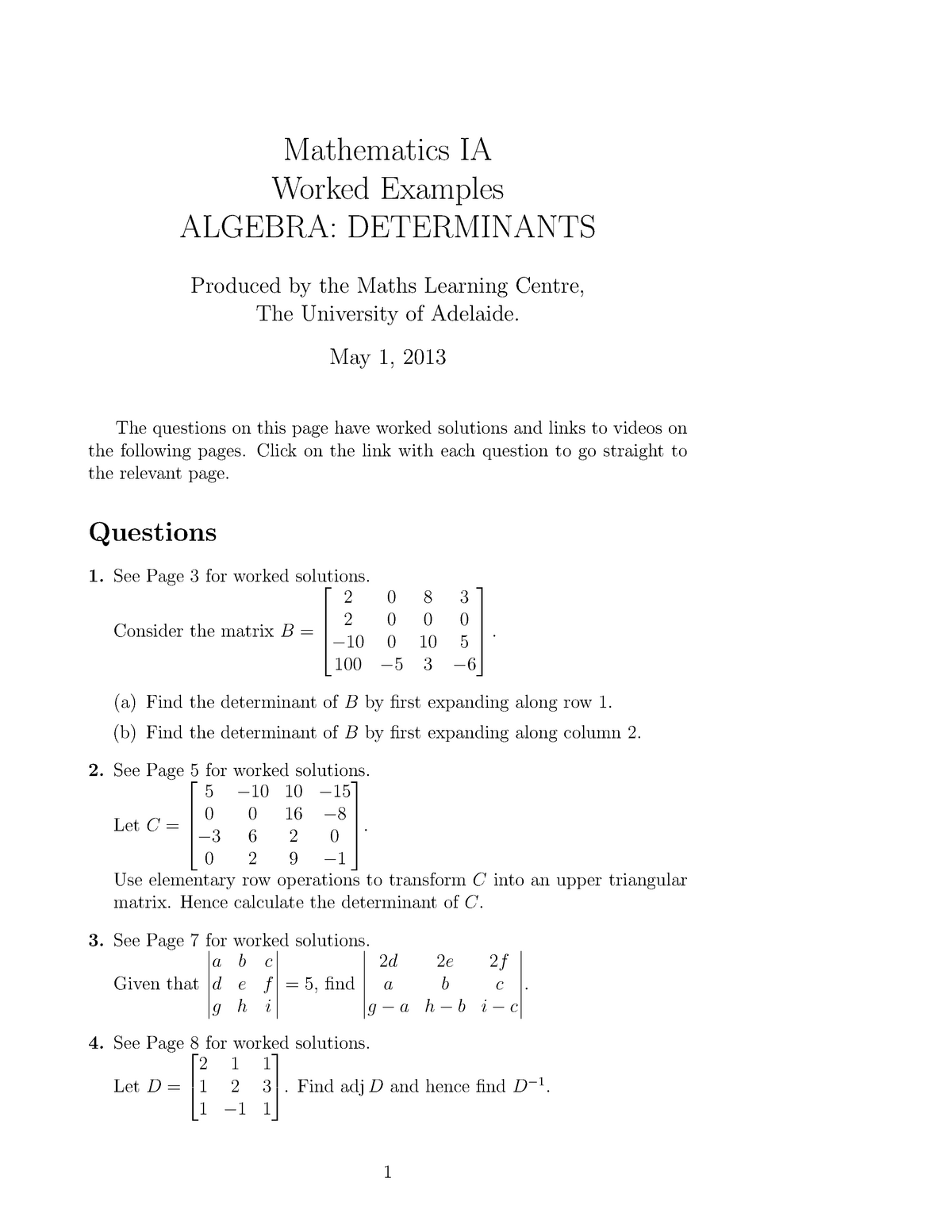 Lecture notes, lecture examples alg dets - MATHS 1011