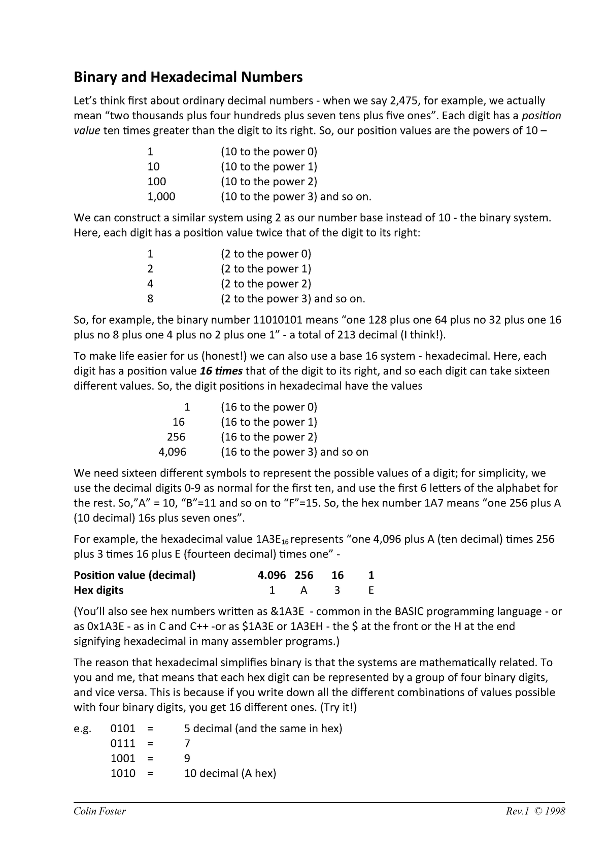 1 Binary Basics homework - Computer Architecture, Networks