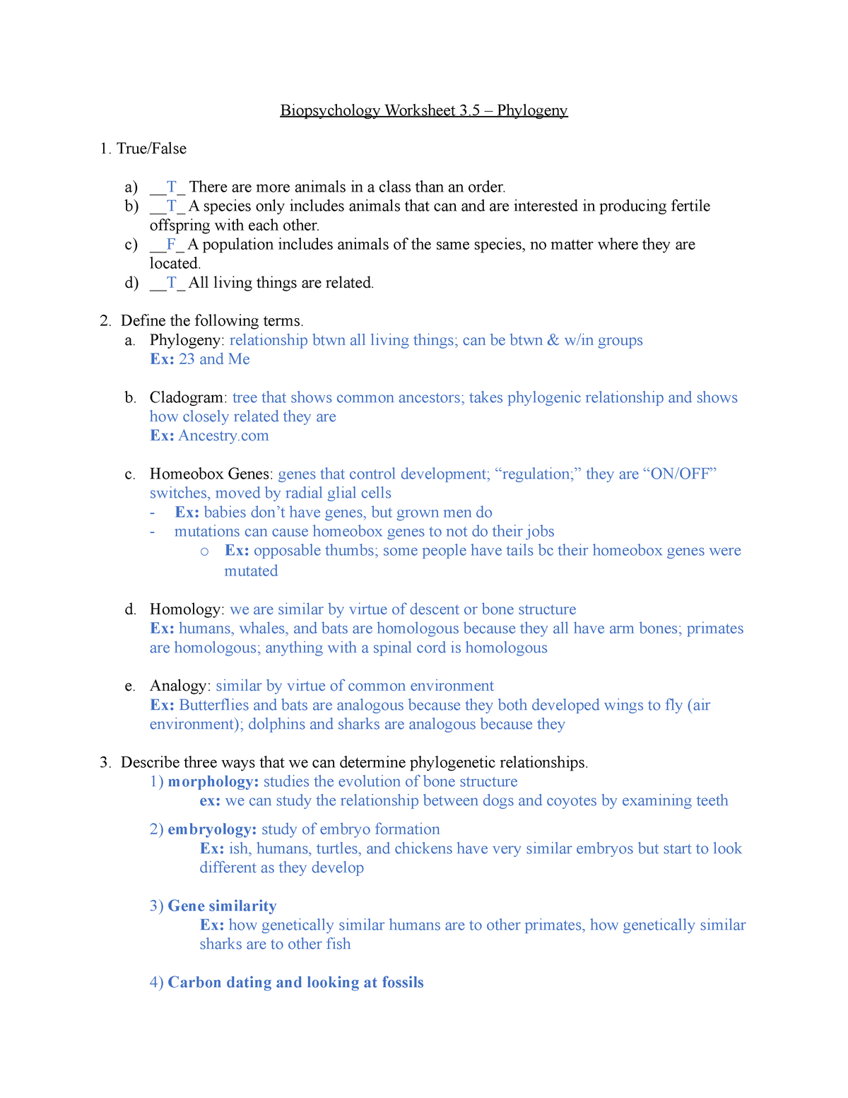 SI Worksheet 3 5: Phylogeny - PSYC 360 Biopsychology - StuDocu