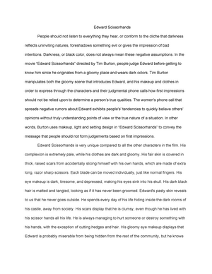 Health Awareness Essay Edward Scissorhands  A  Eng  Film Analysis And Interpretation   Studocu Causes Of The English Civil War Essay also Business Studies Essays Edward Scissorhands  A  Eng  Film Analysis And Interpretation  Writing A Proposal Essay