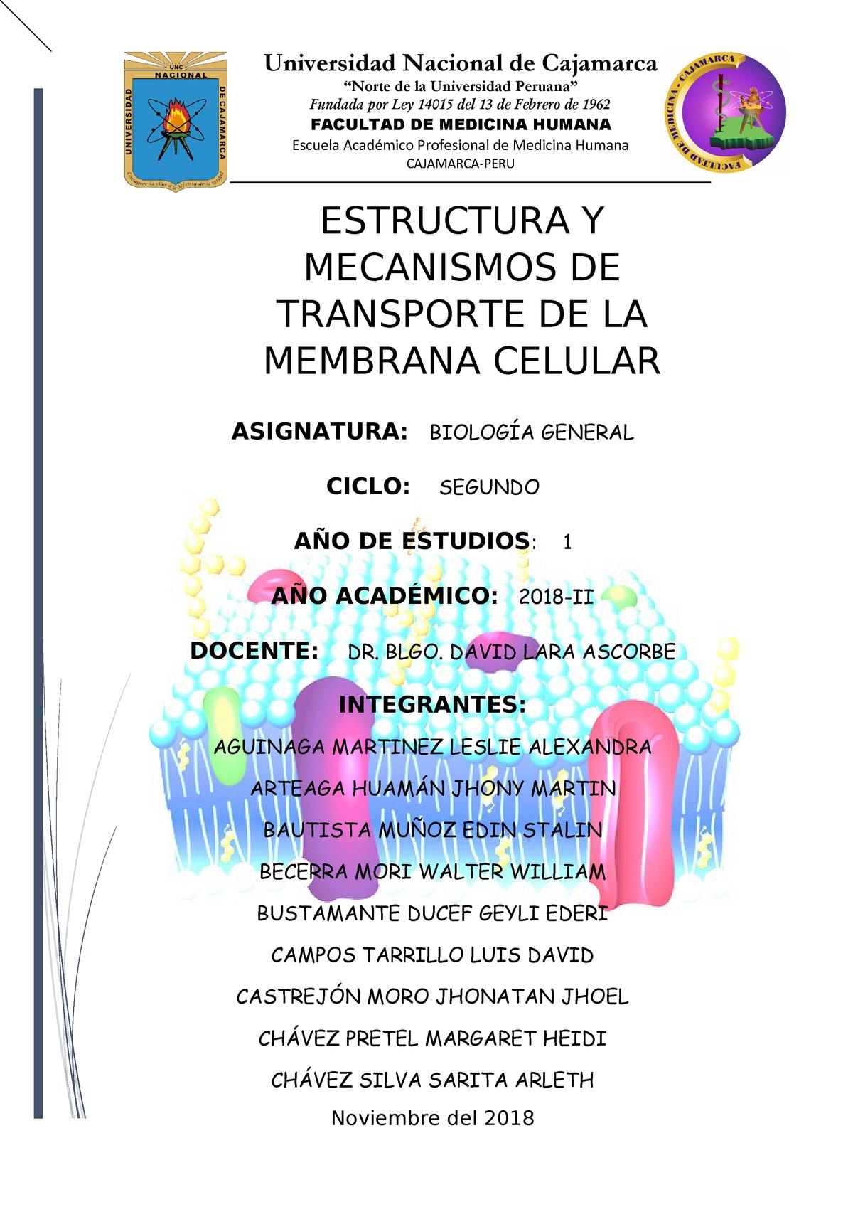 Biologia Informe Membrana Biología General 50923 Unc